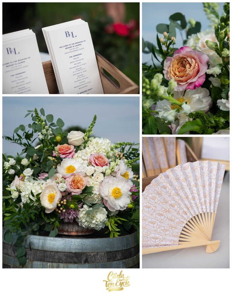 Peony, garden roses, dahlia floral centerpiece by Hana Floral at Jonathan Edwards Wedding