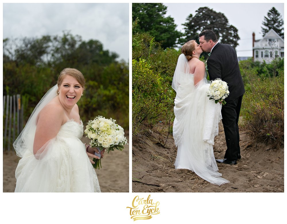 Bride laughs on her wedding day on the beach in Lordship CT