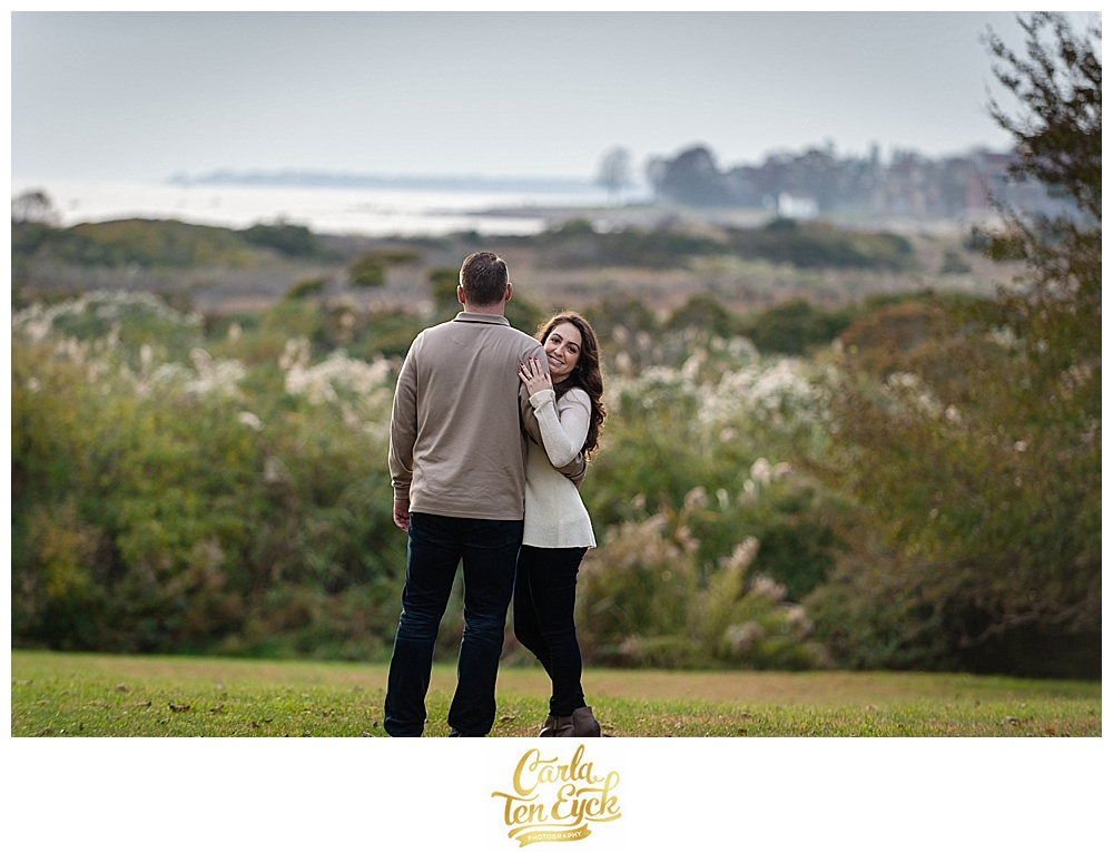 Couple during their engagement session at Harkness Park in Waterford CT