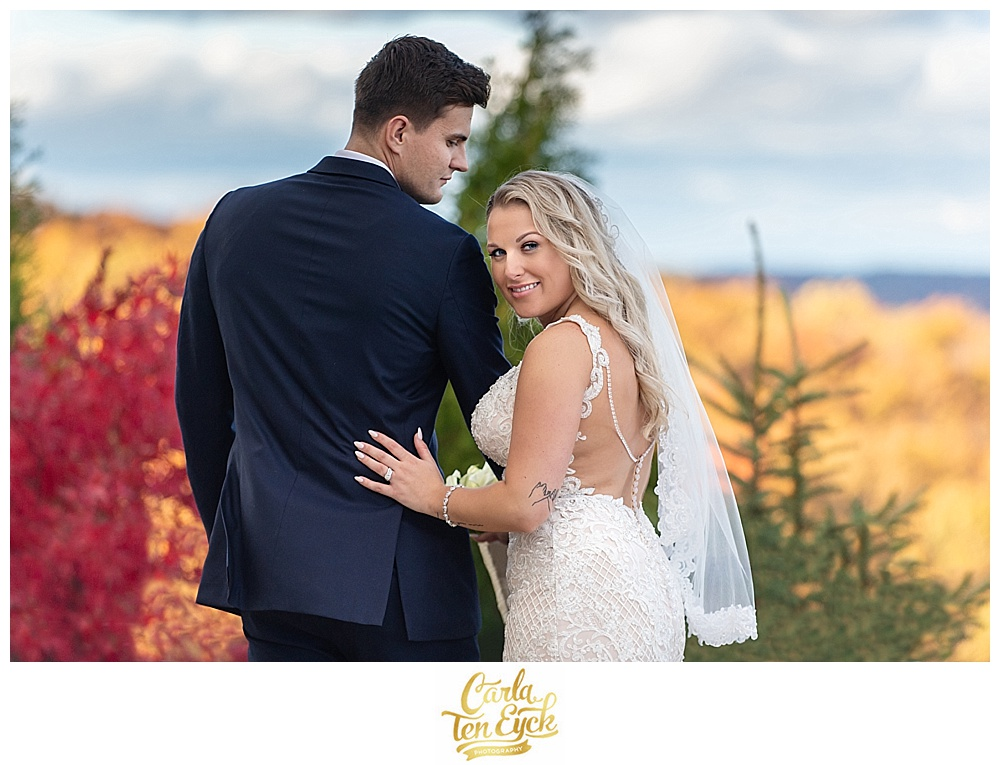 Bride and groom at their autumn wedding at Aria in Prospect CT