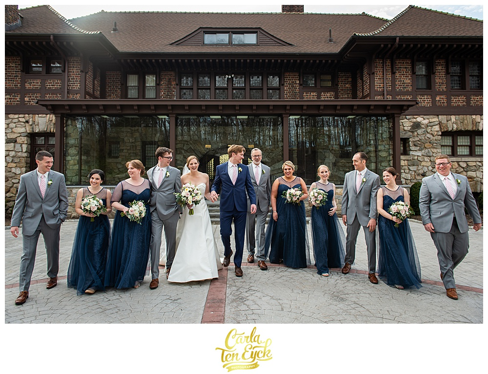 Wedding party in navy and gray at Le Chateau in South Salem NY