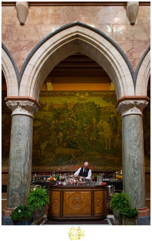 Bar set up in the foyer of Mount Stuart Castle on the Isle of Bute Scotland