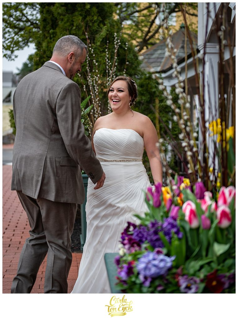 Plus size bride in her wedding gown from David's Bridal at her spring wedding at the Publick House in Sturbridge MA
