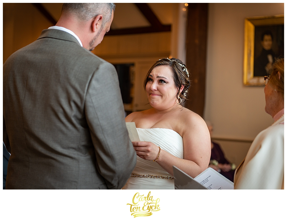 An emotional bride exchanges vows at her wedding ceremony at the Publick House in Sturbridge MA