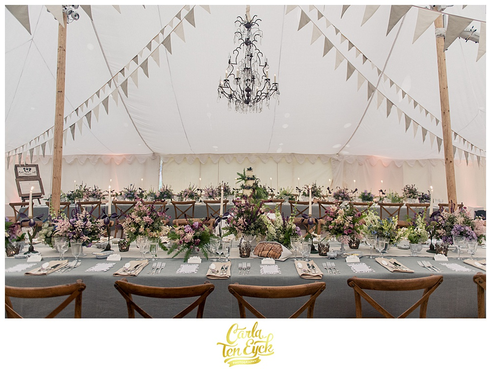 Rustic wedding tent by Sarah Haywood all ready for guests at Mount Stuart in Scotland