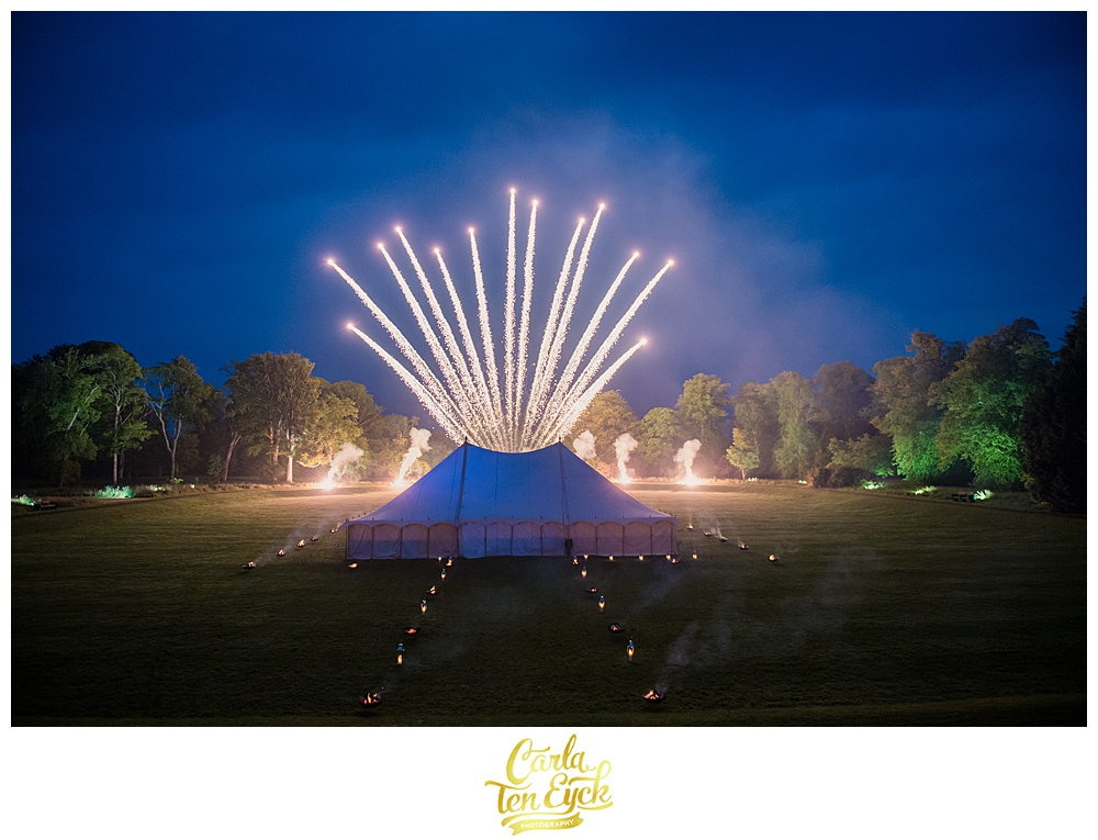 Fireworks over a tent at a wedding celebration at Mount Stuart on the Isle of Bute Scotland
