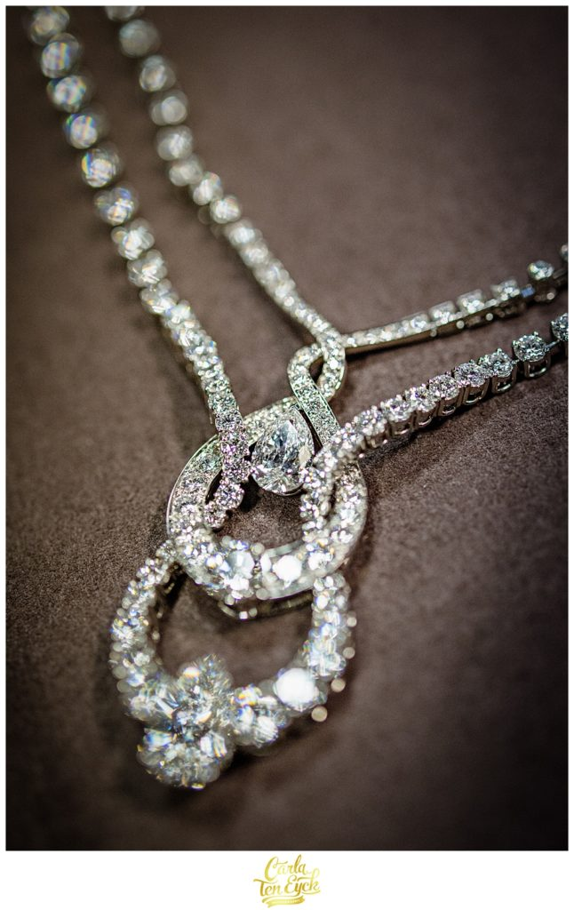 Diamond necklace on loan from a Paris jeweler for a wedding in Selby Abbey Yorkshire UK
