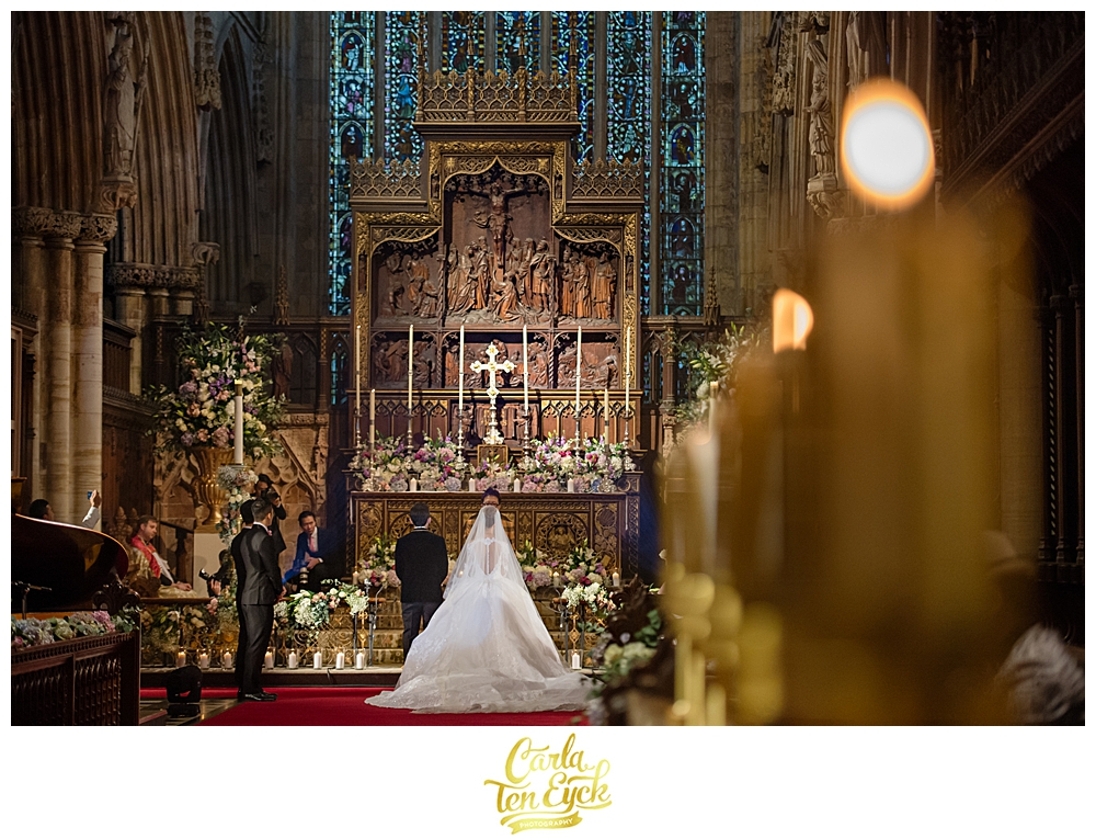 Wedding altar at Selby Abbey Yorkshire UK