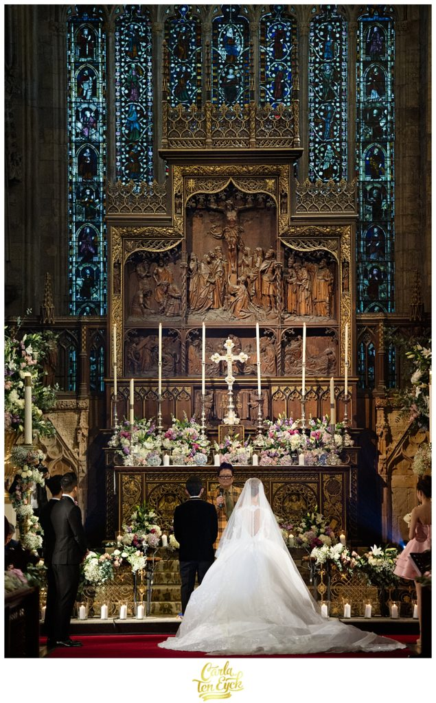 Gorgeous wedding altar at Selby Abbey Yorkshire UK