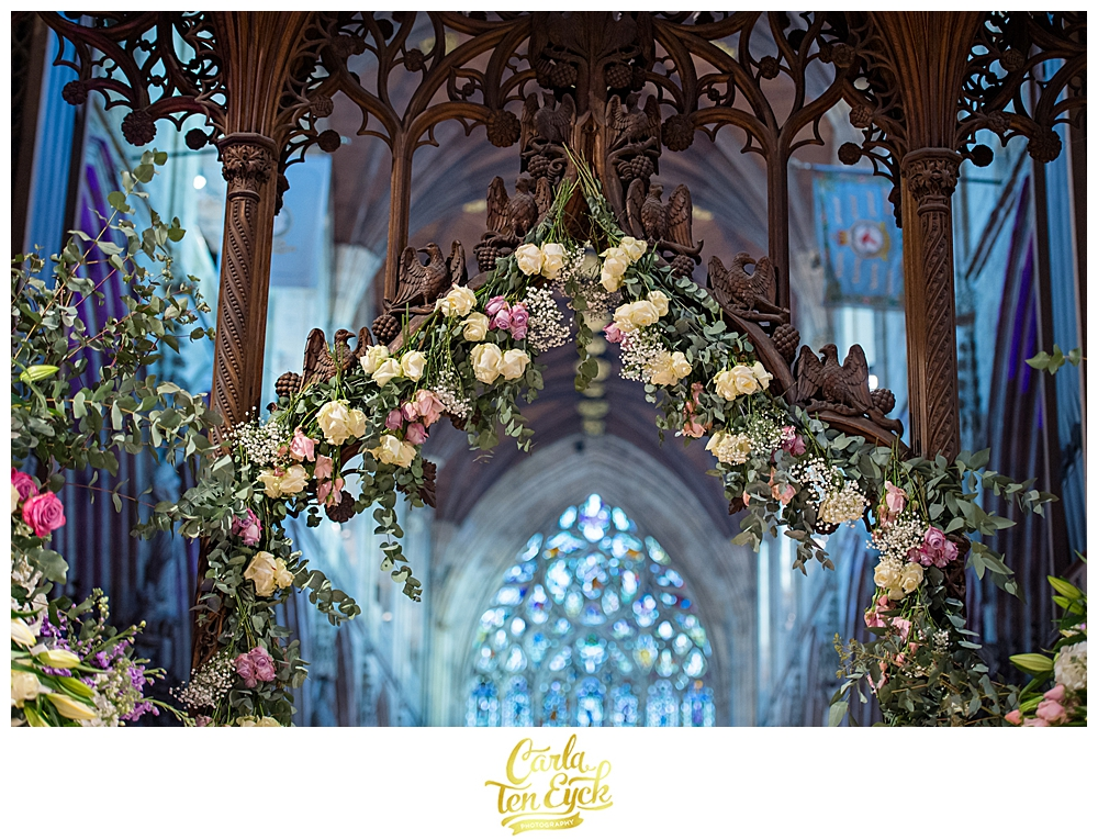 Wedding flowers in Selby Abbey Yorkshire UK