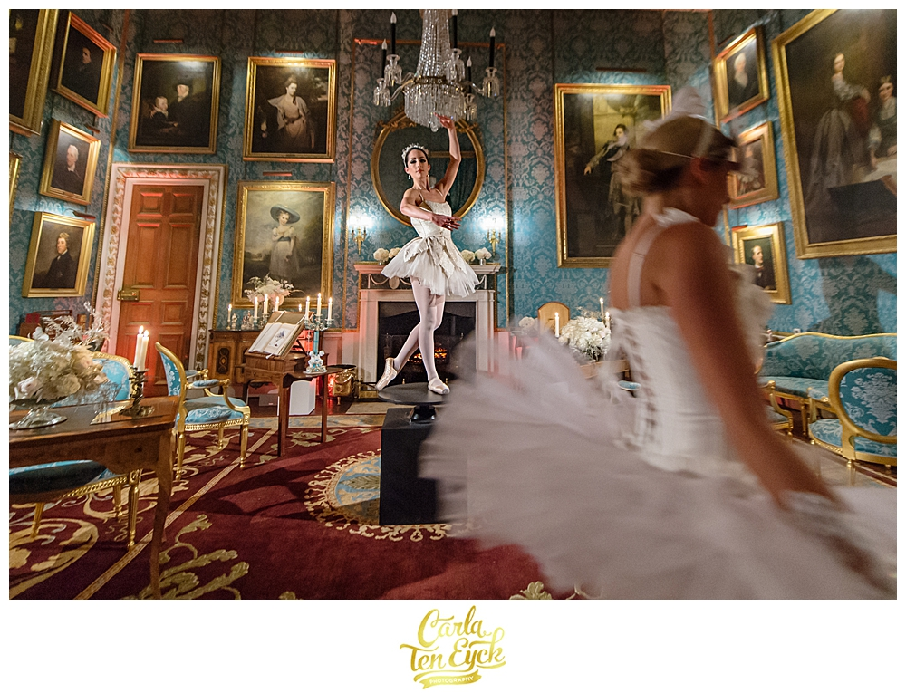 Ballerinas perform at a wedding at Castle Howard in North Yorkshire England