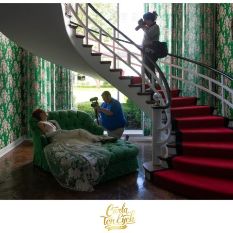 Photographer Carla Ten Eyck works in the Presidential Suite at the famed Greenbrier in West Virgina