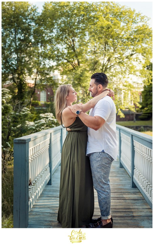 A couple gazes into one another's eyes during their Milford Ct engagement session