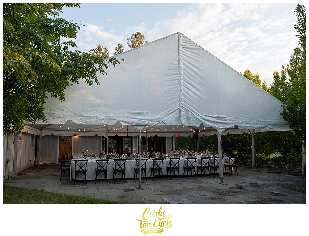 The tent is set for an intimate Winvian wedding in Morris CT