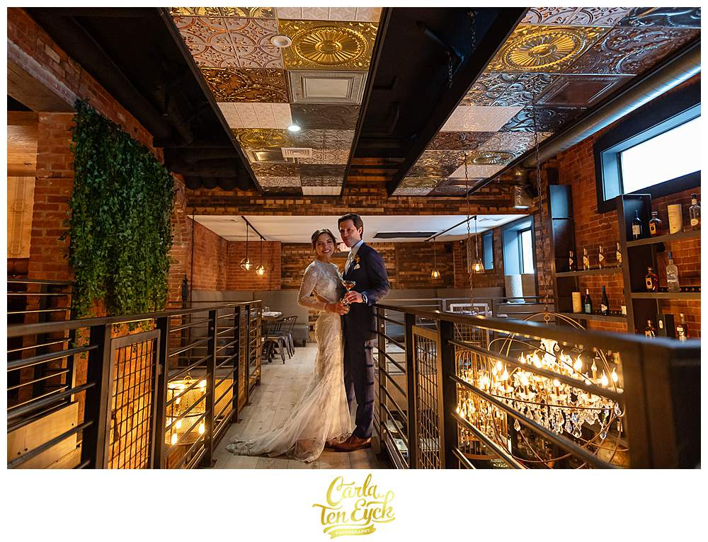 A bride and groom during their wedding at the Republic at The Linden in Hartford CT