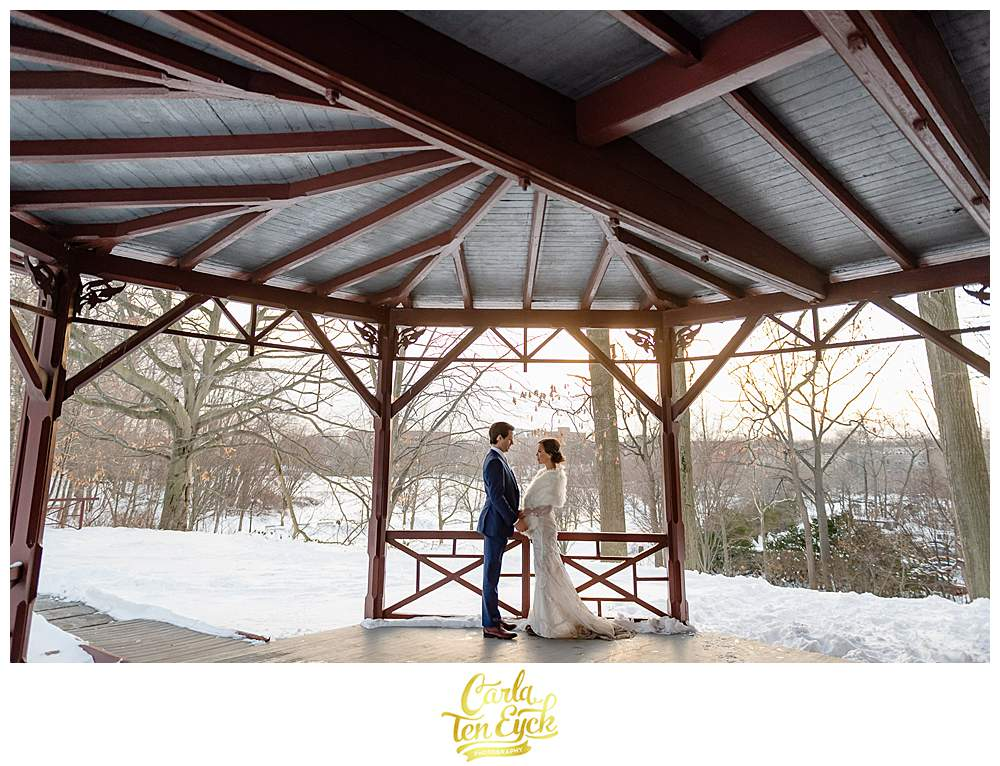 A bride and groom during their winter wedding at the Mark Twain House in Hartford CT