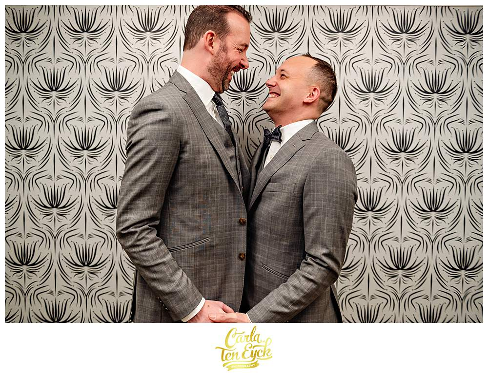 Two grooms during their wedding day at The Goodwin Hotel in Hartford CT