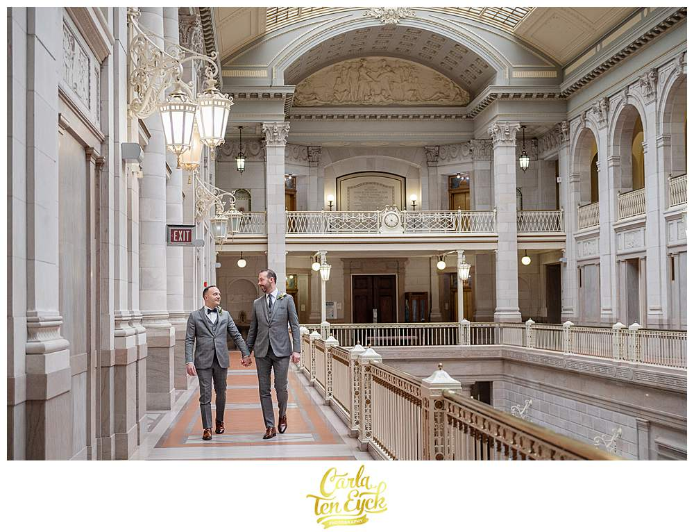 Two grooms during their Hartford City Hall elopement in Hartford CT
