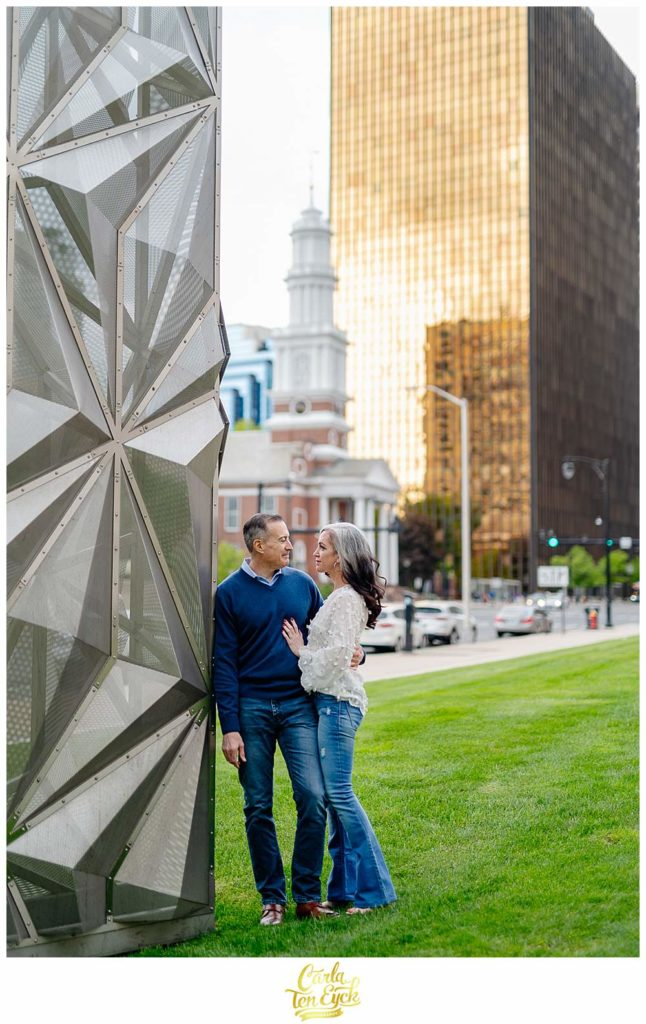 A couple poses for photos during their downtown Hartford engagement session, Hartford CT
